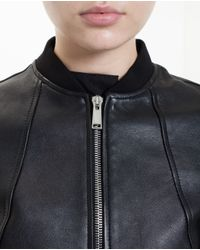 Paco Rabanne - Black Leather Bomber Jacket - Lyst