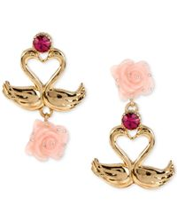 Betsey Johnson | Pink Gold-tone Swan And Rose Mismatch Drop Earrings | Lyst