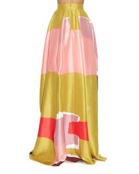 ROKSANDA Yellow Rawson Torn-paper Print Silk Maxi Skirt