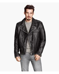 H&M Black Leather Biker Jacket for men