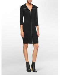 Calvin Klein | Black White Label Center Full Zip 3/4 Sleeve Sweater Dress | Lyst