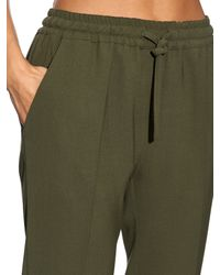 Etro Natural Wool-crepe Drawstring Waist Trousers