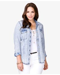 Forever 21 - Blue Spiked Mineral Wash Shirt - Lyst