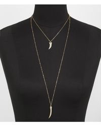 Express - Metallic Hilo Pave Horn Pendant Necklace - Lyst