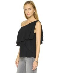 Ella Moss | Black Stella One Shoulder Blouse - Natural | Lyst