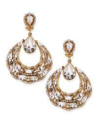 Jose & Maria Barrera | Metallic Gold-Plated Ornate Hoop Earrings | Lyst