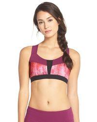 Alo Yoga Pink 'paddle Fast' Cross-back Mesh Inset Sports Bra