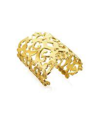 Juicy Couture Metallic Gold Openwork Wide Cuff