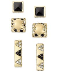 House of Harlow 1960 | Metallic Gold-tone Black Resin And Pavé Earring Set | Lyst