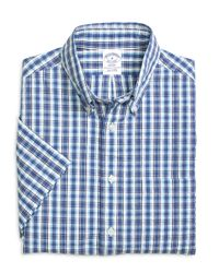 Brooks Brothers | Blue Madison Fit Plaid Seersucker Short-sleeve Sport Shirt for Men | Lyst