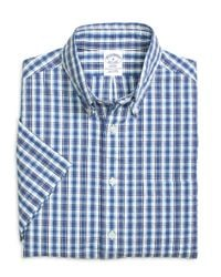 Brooks Brothers - Blue Madison Fit Plaid Seersucker Short-sleeve Sport Shirt for Men - Lyst