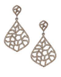 Bavna - Metallic 3.01 Tcw Pavà Champagne Diamond & Sterling Silver Cutout Drop Earrings - Lyst