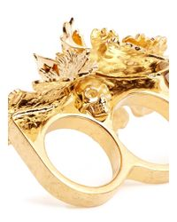 Alexander McQueen Metallic Lotus Flower Two Finger Ring