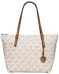 Michael Kors | White Michael Jet Set Travel Top Zip Tote | Lyst