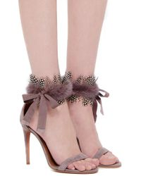 Aquazzura - Brown Iris High Heeled Sandals With Mink Accent - Lyst