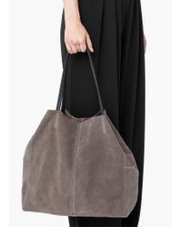 Mango - Gray Suede Shopper Bag - Lyst