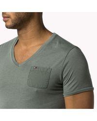 Tommy Hilfiger | Gray Cotton Blend V-neck T-shirt for Men | Lyst