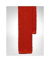Polo Ralph Lauren Orange Solid Knit Silk Tie for men