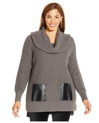 Michael Kors | Gray Michael Plus Size Cowl-neck Sweater | Lyst