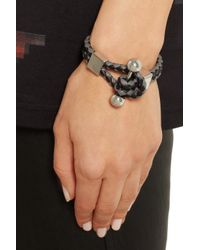 Givenchy - Shark Tooth Piercing Bracelet in Braided Black and Gray Leather - Lyst