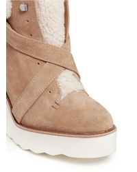 COACH Brown 'kenna' Shearling Suede Wedge Boots
