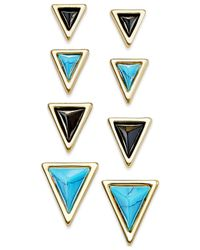 House of Harlow 1960 | Blue Gold-tone Triangle Stud Earring Set | Lyst