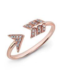 Anne Sisteron | Pink 14kt Rose Gold Diamond Arrow Ring | Lyst