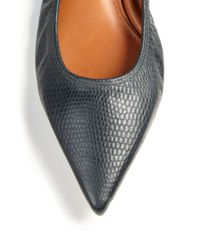 Lanvin - Blue Lizard-embossed Leather Point-toe Flats - Lyst