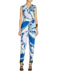 Emilio Pucci - Blue Printed Jersey Jumpsuit - Lyst