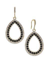 INC International Concepts - Goldtone Black Pave Teardrop Earrings - Lyst