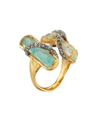 Alexis Bittar Metallic Multi Stone Encrusted Vine W/ Custom Aqua Crackle Crystal & Amazonite Doublet Cocktail Ring