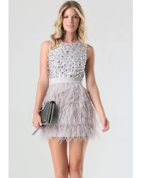 Bebe | Pink Rhinestone Feather Dress | Lyst