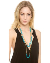 Kenneth Jay Lane | Blue Stone Chain Interval Necklace | Lyst
