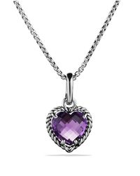 David Yurman - Metallic Cable Heart Pendant With Amethyst - Lyst