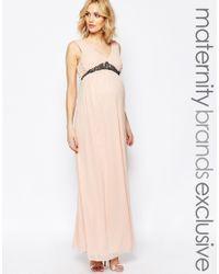 Maya Maternity Pink Plunge Front Maxi Dress