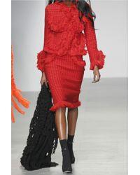 Sibling - Orange Fringed Merino Wool-Bouclé Skirt - Lyst