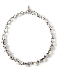 Joomi Lim - Metallic Double Row Chain Pearl Choker Necklace - Lyst