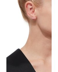 EF Collection | Metallic Rose Gold Floating Diamond Leaf Ear Cuffs | Lyst
