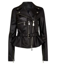 McQ Black Peplum Leather Biker Jacket