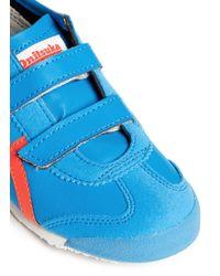 Onitsuka Tiger Blue 'Mexico 66 Baja' Stripe Velcro Strap Kids Sneakers