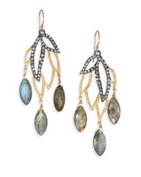 Alexis Bittar - Metallic Elements Phoenix Labradorite & Crystal Leaf Marquis Chandelier Earrings - Lyst