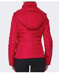 Armani Jeans | Red Hooded Puffa Coat | Lyst