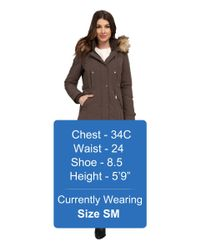 Vince Camuto - Brown Single Breasted Matte Fabrication Down With Faux Fur Lined Hood J1721 - Lyst