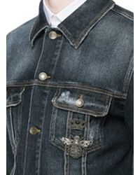 4b6c12a40b Lyst - Dolce   Gabbana Crown And Bee Embroidery Denim Jacket in Blue ...