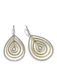 David Yurman Metallic Cable Classics Teardrop Earrings With Gold