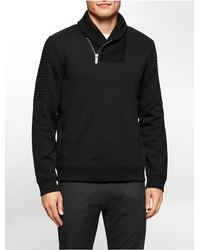 Calvin Klein - Black White Label Classic Fit Quilted Shawl Neck Fleece Sweatshirt for Men - Lyst
