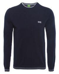 BOSS Green | Blue Crew Neck Rime Jumper for Men | Lyst