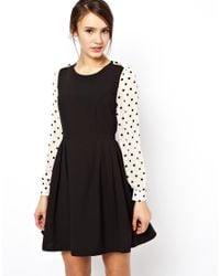 Darling | Black Skater Dress with Polka Sleeves | Lyst
