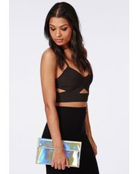 Missguided - Metallic Holographic Envelope Clutch Bag Gold - Lyst