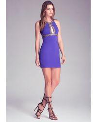Bebe Blue Beaded Open Ponte Dress
